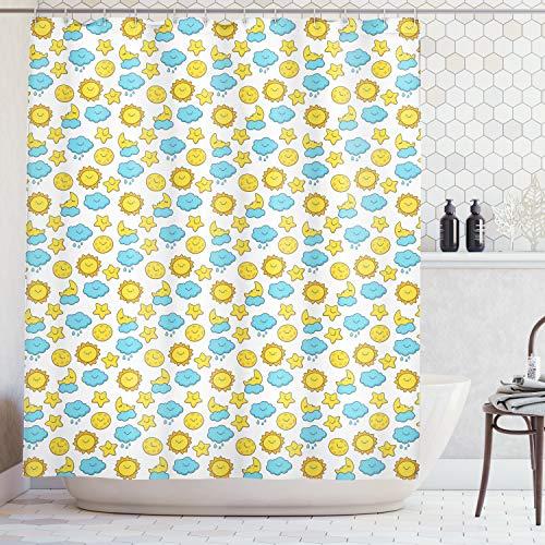 ABAKUHAUS Duschvorhang, Muster mit Lächelnden Sonnen, Wolken, Mond & Sternen Bild Druck Gelb Blau Weiß, Blickdicht aus Stoff inkl. 12 Ringe für Das Badezimmer Waschbar, 175 X 200 cm