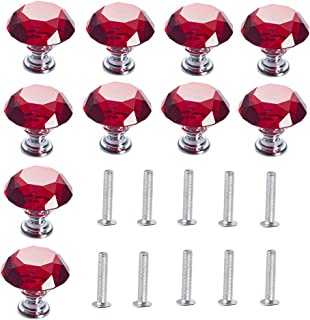 LONGWIN Crystal Cabinet Knobs Handles Diamond Shaped Dresser Drawer Pulls for Kitchen Batchroom Cupboard Red