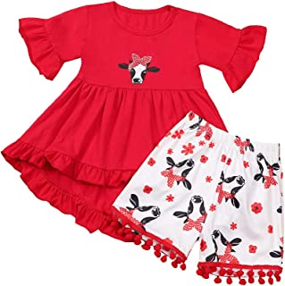 itkidboy Baby Girls Clothes Red Ruffle Flare Tunic Dress Little Kids Toddler Cartoon Cow Pleated Dress+Trousers 2Pcs Outfits
