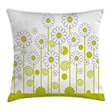 JIMSTRES Floral Throw Pillow Cushion Cover, Daisy Flowers in a Sunny Day with Leaves Garden Cartoon Swirl Details Image, Decorative Square Accent Pillow Case, Yellow and White 20x20 inches