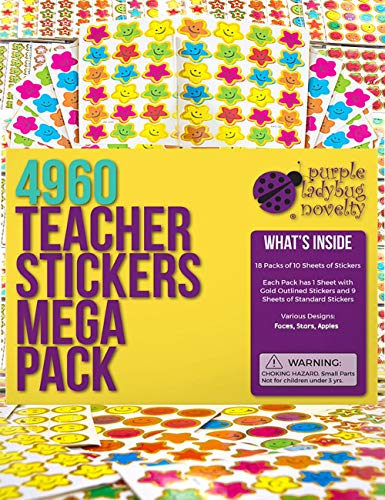Purple Ladybug Teacher Stickers For Kids Mega Value Pack - 4960 Reward Stickers for Teachers & Incentive Stickers Sheets in Bulk for Classroom & School Use - with Star Stickers & Other styles Stickers