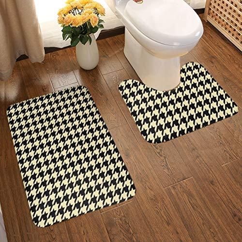Juego de alfombras de baño de franela con diseño de pata de gallo, antideslizantes, lavables, 2 unidades, diseño de pata de gallo, color negro y crema