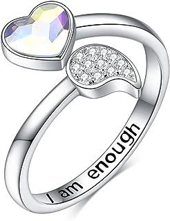 TOPOP خاتم I am Enough Ring s925 من الفضة الاسترلينية مع قلب كريستال خواتم قابلة للتعديل هدايا مجوهرات ملهمة للنساء والفتيات
