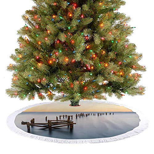Adorise Rustic Xmas Tree Skirt Old Vintage Ruined Wooden Pier Deck in Still Water Serene Art Photo Xmas Holiday Party Decorations It Will Showcase Your Christmas Tree Perfectly - 36 Inch
