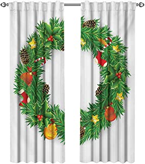 shenglv Christmas, Curtains x Pattern, Festive Wreath Evergreen with Candy Cane Stockings Mistletoe Berries on Door, Curtains Nursery, W72 x L108 Inch, Green White