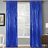 CMICHO 2.3 x 8FT Sequin Backdrop Curtain - Roayl Blue 2PCS Glitter Backdrop Photography Background for Wedding Party Decorations