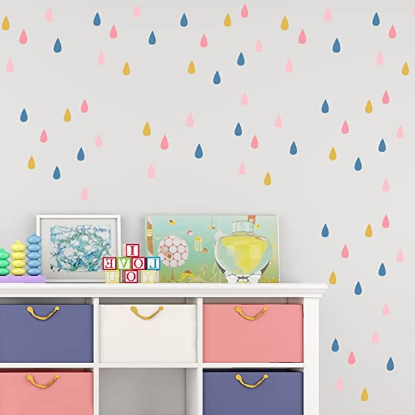 Smartcoco 5 Sheets Set Colorful Raindrop Wall Sticker DIY Removable Adhesive Wall Decal Mural Art For Children S Room Nursery Decor 8 3 X 5 8