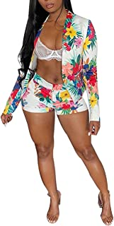 Angsuttc Women's Floral Print Long Sleeve Open Front Blazer Jacket + Short Set 2 Piece Outfit