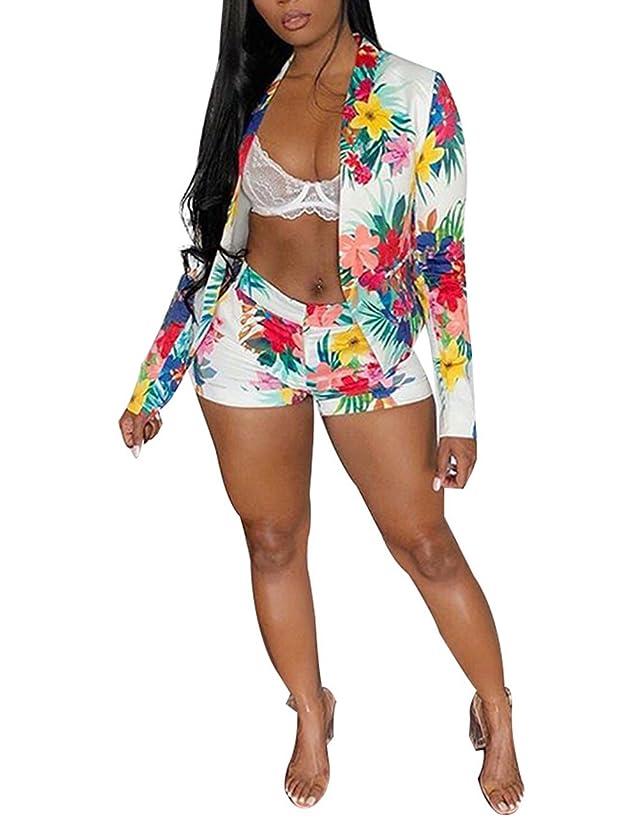 Angsuttc Women's Floral Print Long Sleeve Open Front Blazer Jacket + Short Set 2 Piece Outfit