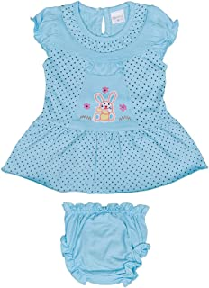 Hopscotch Baby Girls Cotton Short Sleeves Embroidery Polka Printed Dress with Bloomer in Blue Color