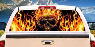 SignMission Flaming SKULLRear Window Graphic Back Truck Decal SUV View Thru Vinyl, 22