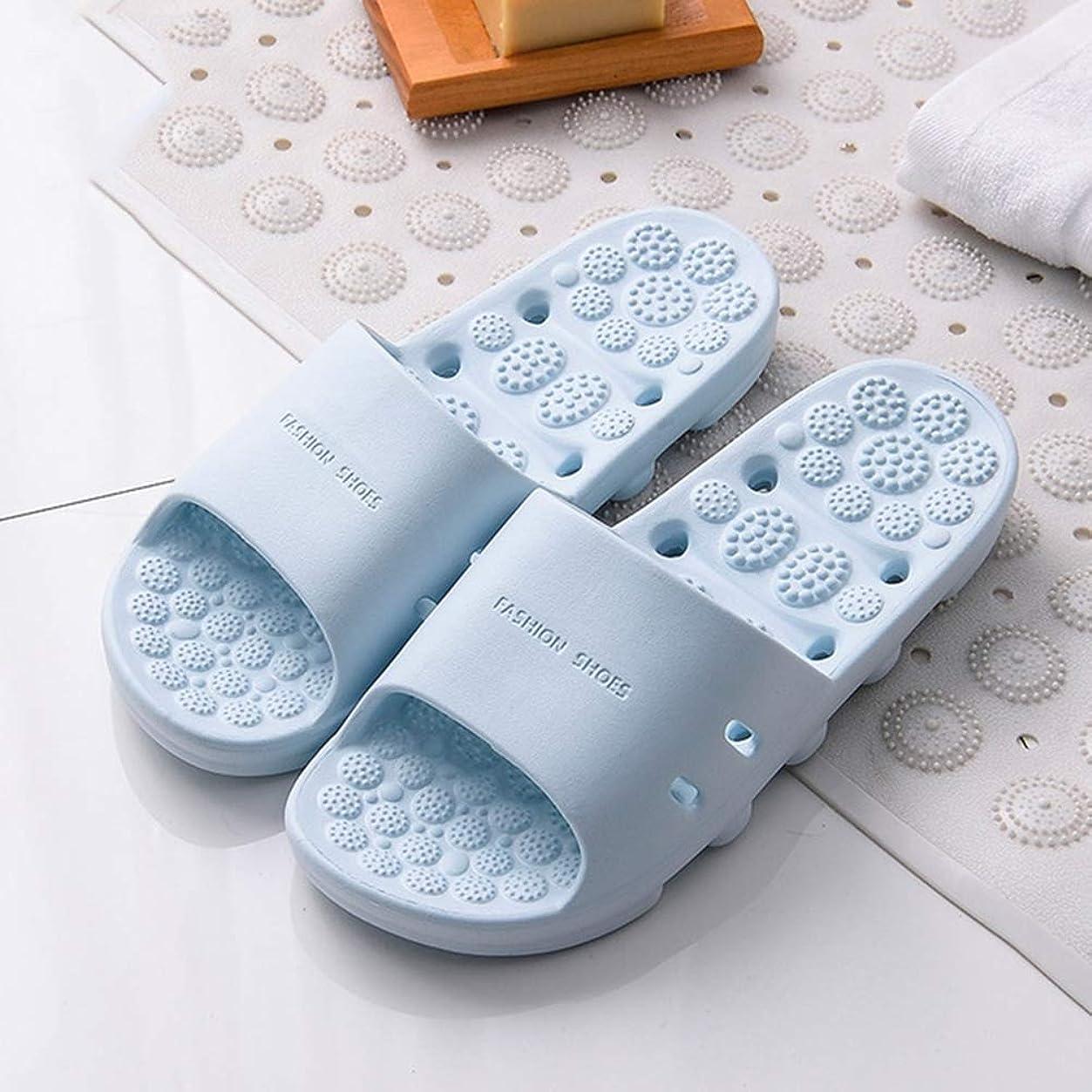 ために過剰三マッサージスリッパ厚い底中空速乾性滑り止め足の筋膜炎の足のツボマッサージ健康マッサージの靴夏のバスルームのスリッパ,Blue,XL