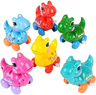"""The Dreidel Company Dinosaur Wind-Up Toys, Birthday Party Favors, Novelty and Gag Gifts, 3.25"""" Inches (6-Pack)"""