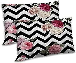 RADANYA Zig-Zag Printed Pillow Cover Set of 2 Black Rectangular Bedding Throw Cushion Case 12x18 Inch