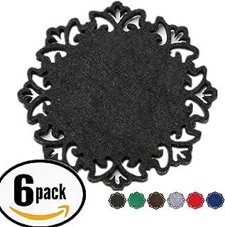 Dulce Cocina Classy Housewarming Gift, Elegant Black, Coasters Set of 6 - Large Round