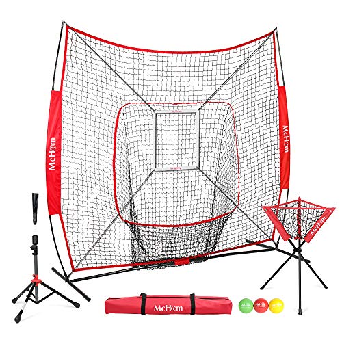 McHom 7' x 7' Baseball & Softball Practice Net Set with Travel Tee, Ball Caddy, 3 Weighted Balls & Strike Zone for Hitting, Pitching, Batting & Fielding Practice | Collapsible and Portable