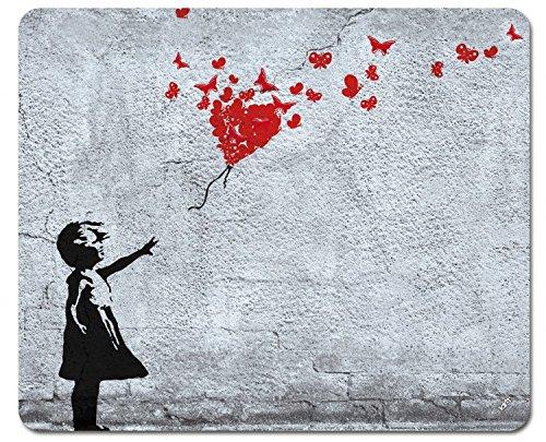 1art1 Mädchen - Mädchen Mit Luftballon Und Schmetterlingen, Banksy-Style Mauspad 23 x 19 cm
