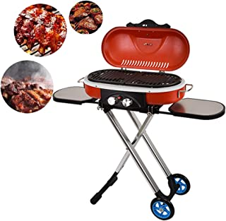 Portable Barbecue Suitcase Gas Grill, 19 inch Barbecue Grill and Smoker BBQ Outdoor Picnic Patio Backyard Camping Tailgati...