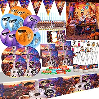 Coco Themed Birthday Party Supplies For 10 Guests - 83 Piece Bundle - Plates, Napkins, Banner, Invitations, Tablecover, Decorations, Favors