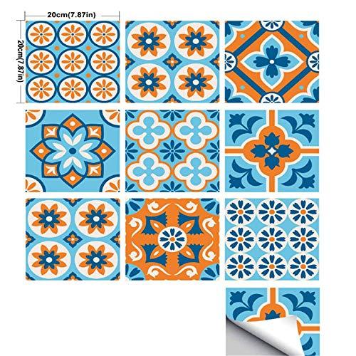 Blau Orange Retro Textur Fliesen Aufkleber Europäische Wohnzimmer Küche Badezimmer Hintergrund Mosaik Kristall Wandaufkleber