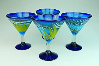 Mexican Glass Margarita Martini Hand Painted Fish In Sea, 14 Oz, Set of 4