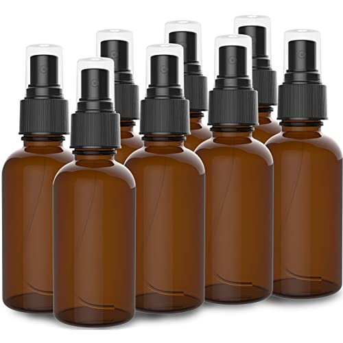 8 Pack Amber Spray Bottles 2oz - [THE PERFECT SPRAY] - Empty Glass Bottles For Cleaning Solutions - Best Refillable MIST SPRAY Pack Perfume Atomizer [2oz]