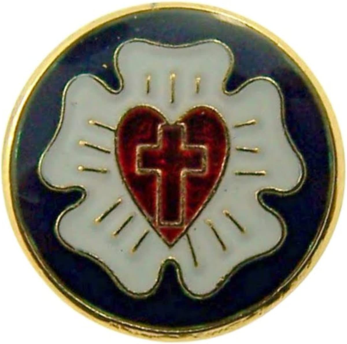 Religious Lapel Pins Gold Tone and Enamel Lutherian Shield, 1/2 Inch