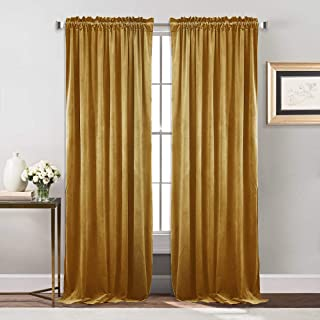 NICETOWN Bedroom Velvet Curtains/Drapes - Dining Room Luxury Room Darkening Curtains for Holiday Season Christmas Decoration (Gold, 1 Pair, 84 inch)