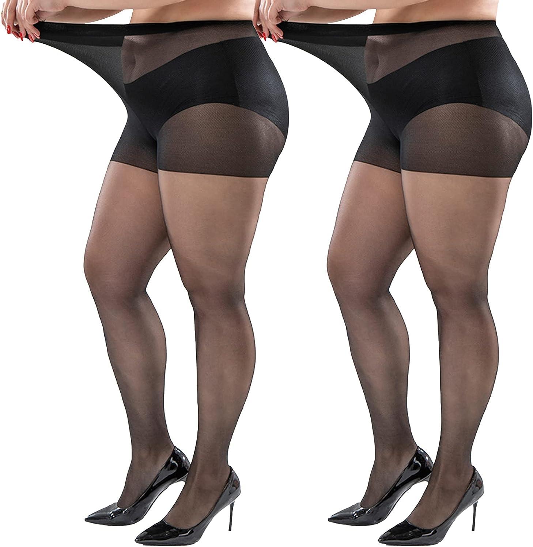 Plus Size Pantyhose 20D Black Tight Sheer Pantyhose
