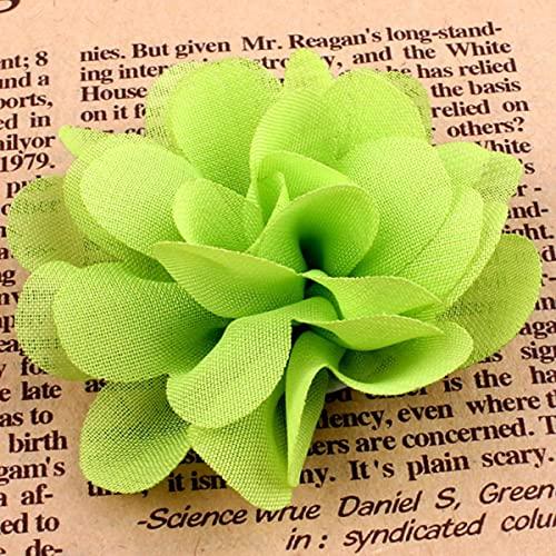 20 Unids 5cm 2 'Tela de Flores Artificiales Boutique para Diademas Álbum de Recortes Tela de Tul Flores Crochet Gasa Accesorios de Flores-Verde