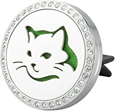 JAOYU Car Air Freshener Aromatherapy Essential Oil Diffuser Vent Clip Stainless Steel Locket Pendant - Cat Lover Gifts Halloween for Men Women