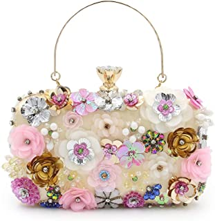 Ladies Flower Dinner Clutch Bag Fashion Diamond Evening Tote Dress Gown Wedding Bridal Chain Shoulder Messenger Bag Size: 20 * 6 * 14cm Fashion (Color : Gold)