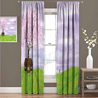 GUUVOR Nature 99% Blackout Curtains Single House by Blooming Spring Tree and Little Girl with Kite Idyllic Picture for Bedroom Kindergarten Living Room Curtain 52