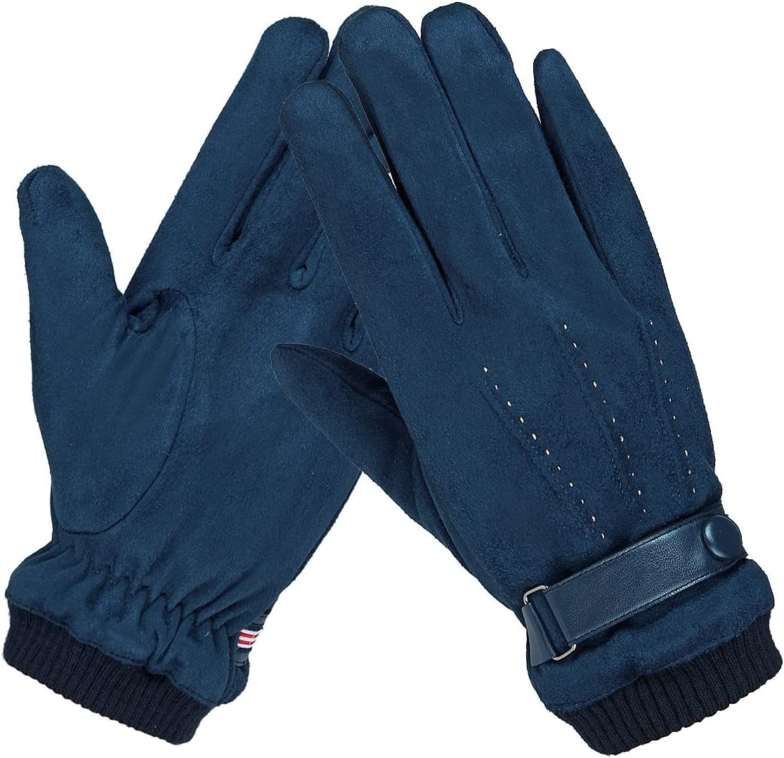 Lupovin-Keep Warm Mens Winter Suede Gloves Touch Screen Windproof Thermal Quick Outside Sport Skiing Gloves Non-Slip (Color : Blue)