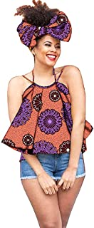 African Camisole Cover up Dress for Women Skirt Dashiki Ankara Girls Clothing+Headwrap 35×45 inch