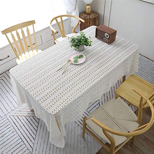 DHHY Mantel Calado de Algodón Tejido A Mano Tejido A Ganchillo Rectangular Mesa de Centro Mantel de Jardín Crochet Cubierta Toalla Color de La Foto 150X150cm / 59X59in