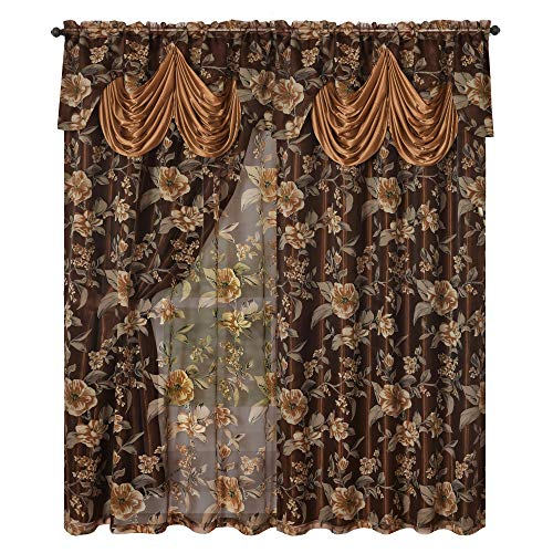 Roman Romance. Burnt-Out Printed Organza Window Curtain Panel Drape with Attached Fancy Valance and Taffeta Backing (Brown, 55 x 84 inches + Attached Valance x 2pcs)