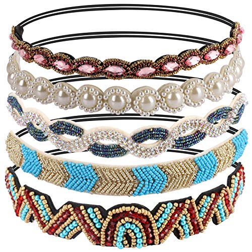 Teenitor Jewel Headband, Elastic Rhinestone Beaded headbands, Hippie Decorative Hair Ties, Boho Accessories for Ladies Women, 5pcs