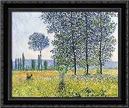 Sunlight Effect Under The Poplars 24x20 Black Ornate Wood Framed Canvas Art by Claude Monet