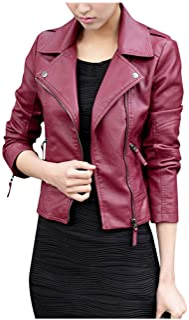 Women Leather Jacket Coat, Ladies Solid Long Sleeve Fashion Zipper Slim Biker Motorcycle Coat Outwear