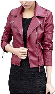Women's Leather Moto Jacket Black Red Short Bomber Jacket Coat Lapel Cool Biker Motorcycle Jacket