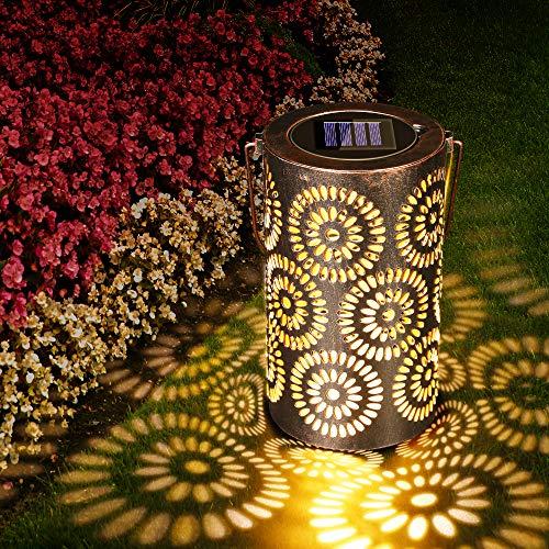 Lanterna Solare Esterno Lampada da Giardino, Lampada da Giardino Impermeabile IP65, Illuminazione Solare a LED, Luci Solari Wireless per Feste, Matrimoni, Patio, Parco, Prato, Natale