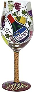 """Designs by Lolita """"My Therapy"""" Hand-painted Artisan Wine Glass, 15 oz."""