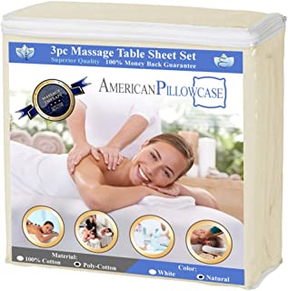 Premium American Pillowcase Massage Table Sheets - 3-Piece Luxury Spa Quality Linens Sheet Set (Color: Natural)