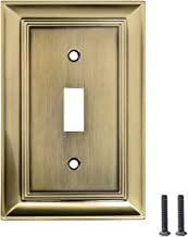 AmazonBasics Single Toggle Light Switch Outlet Wall Plate, Antique Brass, 3-Pack