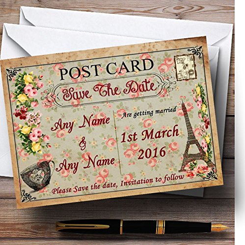 Sla de datumkaarten Vintage Paris Shabby Chic ansichtkaart Floral Gepersonaliseerd met enveloppen - Elke aangepaste tekst voor elke gelegenheid 80 Cards & Envelopes