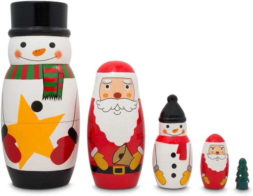 Max 54% OFF BestPysanky Very popular Santa Snowman Christmas Nesting Tree Dolls Wooden