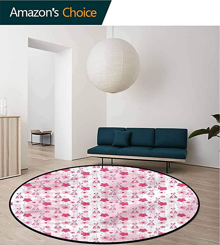 RUGSMAT Baby Modern Simple Round Rug Stuffed Rabbit Toy Flower Super Soft Living Room Bedroom Carpet Woman Yoga Mat Diameter 59
