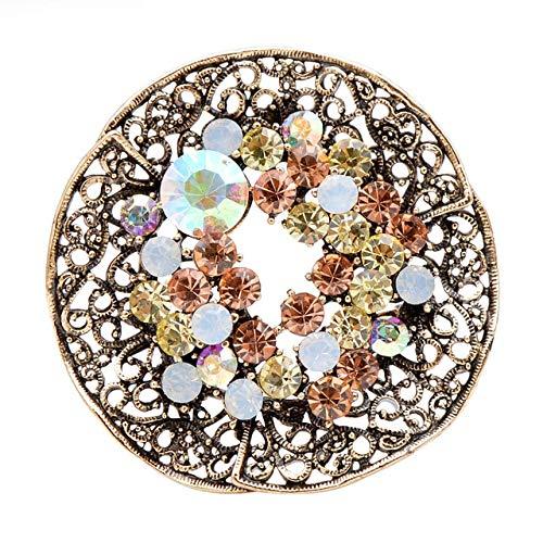 Broches circulares redondos de moda Vintage con diamantes de imitación de 3 colores para mujer, alfileres de abrigo, broche brillante de otoño, buen regalo, blanco Ab