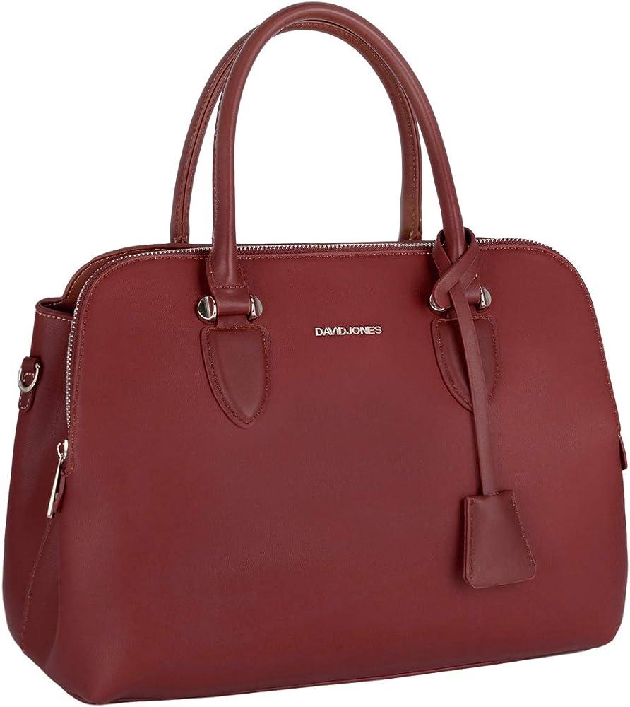 David jones bugatti, elegante borsa a mano/tracolla per donna, in pelle sintetica, rossa CM5055 BORDEAUX